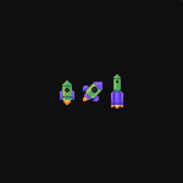 Three pixel art rockets of different shape isolated on dark background
