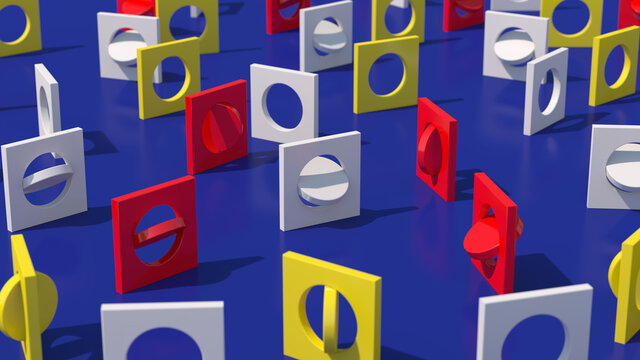 White, red, yellow square shapes. Blue background. Abstract illustration, 3d render.