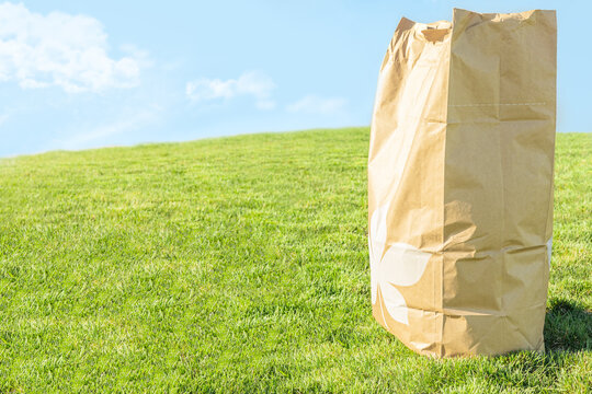 Brown craft paper bag for yard waste place on green grass field against bright cloudy blue sky background, depth of field. Trash management with eco friendly environment concept with copy space.