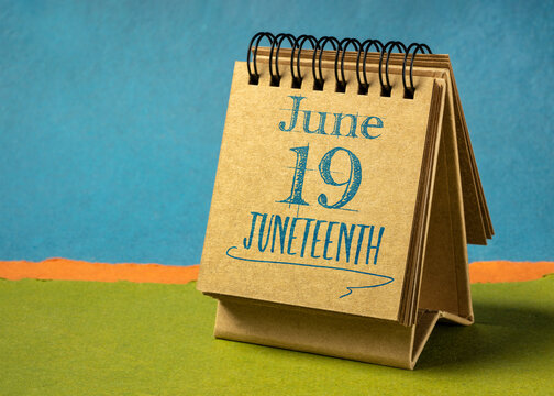 Juneteenth (June 19) in a desktop calendar – also known as Freedom Day, Jubilee Day, Liberation Day, and Emancipation Day – holiday celebrating the emancipation of those who had been enslaved in USA