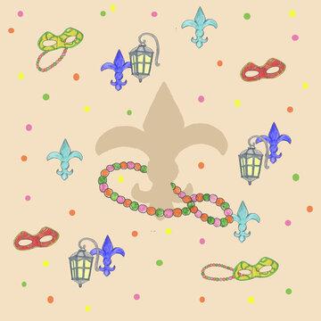 Estampa Mardi Gras.  Ilustração manual inspirada na alma festiva e alegre do Carnaval de Nova Orleans.