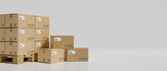 Fototapeta 3D rendering, stack of cardboard boxes in the warehouse in white background obraz