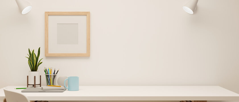 3D rendering, minimal working space with stationery and decorations on white table and mock-up frame on the wall