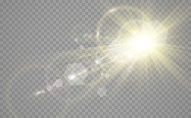 Fototapeta Special lens flash, light effect. The flash flashes rays and searchlight. illust.White glowing light. Beautiful star Light from the rays. The sun is backlit. Bright beautiful star. Sunlight. Glare. obraz