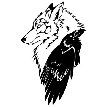 Silhouette of a muzzle of a wolf and a raven of a grak. Linear tattoo style.Design suitable for animal logo, tattoo, decor, mural, hunting club, sticker, emblem, sign, symbol, company. Isolated vector