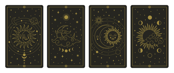Obraz Moon and sun tarot cards. Mystical hand drawn celestial bodies cards, magic tarot card vector illustration set. Magical esoteric tarot cards - fototapety do salonu