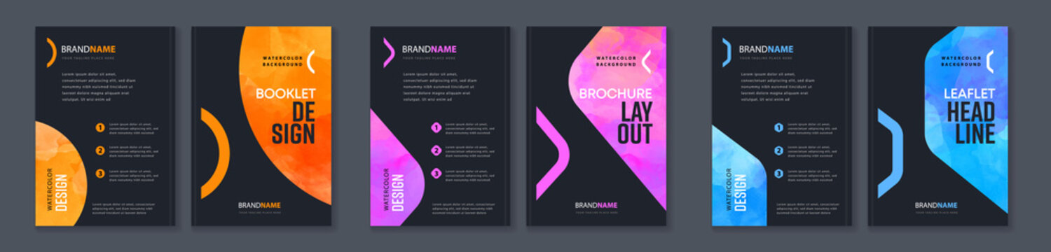 Watercolor booklet brochure colourful abstract cover template bundle set with black background