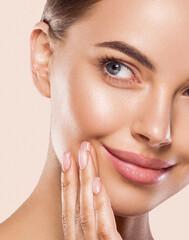 Fototapeta Beauty face woman close up face natural make up healthy beauty skin care obraz