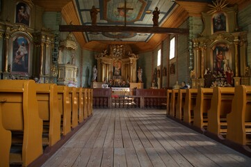 Interior of the wooden church of St. Martin from the 18th century in Maurzyce (Poland)  Wall mural