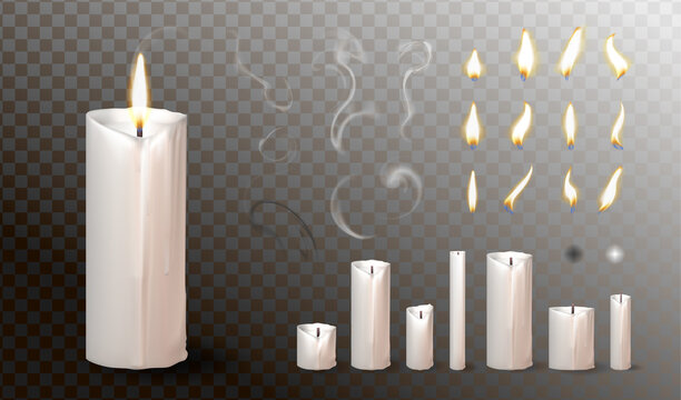Realistic 3d candle, vector Christmas, church candles collection. Wax candle for birthday cake, anniversary, religion design.