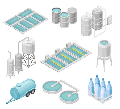 Water Purification Process with Filtration, Sedimentation and Distillation in Cylindrical Tanks and Reservoir Isometric Vector Set