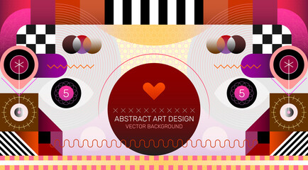 Abstract Art Design. Abstract art vector background with geometric shapes, decorative elements and patterns. Layered EPS 10.