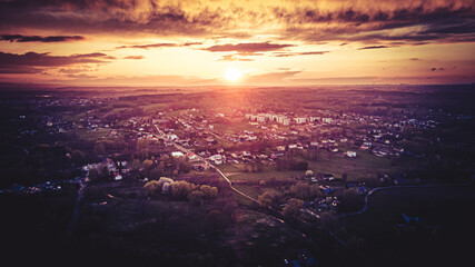 Fototapeta Zachód słońca z lotu ptaka na Górnym Śląsku, Jastrzębie Zdrój obraz