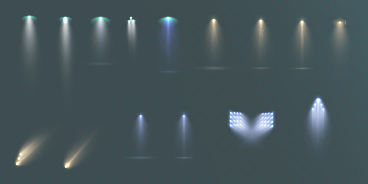 Spotlights set isolated on transparent background. Vector glowing light effect with golden rays and lens flares.