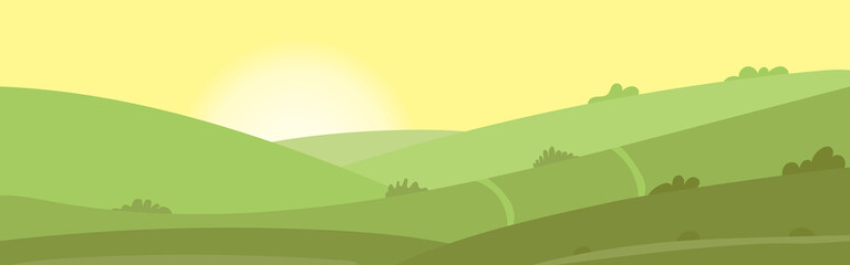 Summer landscape, fields, meadows, grass on a summer day, flat cartoon vector. Screensaver for cover or web design.