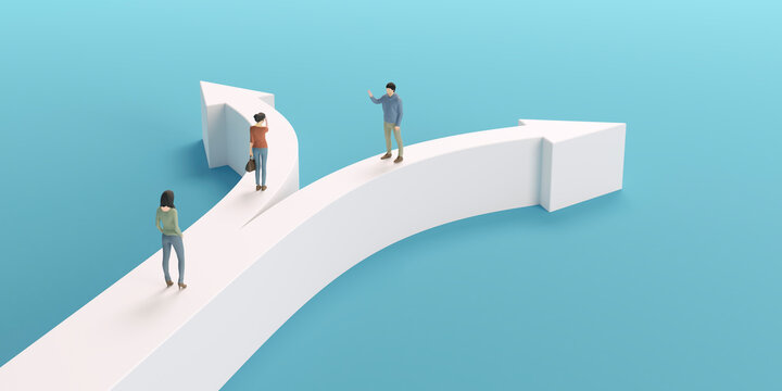 分岐する矢印とビジネスマンの3Dグラフィックス / ビジネスの選択肢・異なる方向性・分岐する未来のコンセプトイメージ