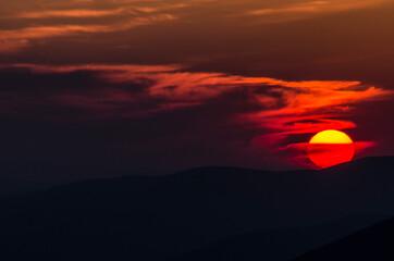 Fototapeta Bieszczady zachód słońca  obraz