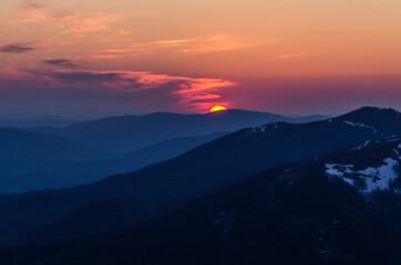 Fototapeta zachód słońca Bieszczady  obraz