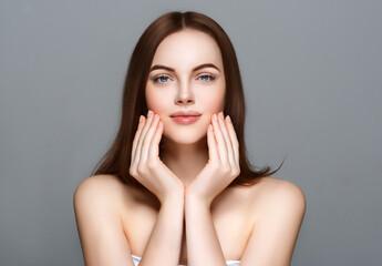 Fototapeta Beautiful woman brunette hair healthy beauty skin perfect fashion make up manicure hands touching face obraz