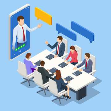 Isometric video conference. Online meeting work form home. Business analysis, analytics, research, strategy statistic, planning, marketing, study of performance indicators.
