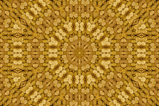 Kaleidoscope abstract pattern of American gold coin treasure hoard of the rare USA double eagle 20 dollar bullion currency coinage used in the late 19th century as America money, stock photo image