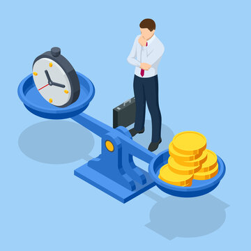 Isometric time is money concept. Money and time balance on scale. Financial investments, revenue increase, budget management, savings account.