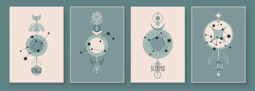 Abstract art with zodiac celestial sign and constellation. Virgo, Leo, Scorpio, Libra. wall art in vintage style. Wall decor painting. Minimalistic background design. Vector illustration.
