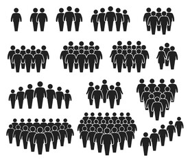 Fototapeta People crowd icons. Large group of people. Team of men or women. People gathering together, standing in queue. Person pictogram icon vector set. User group network, silhouettes for infographic obraz