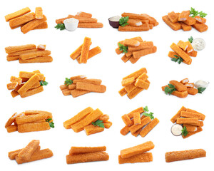 Set with delicious fish fingers on on white background