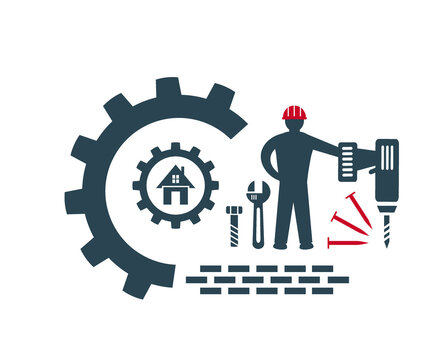 Vector illustration, logo, icon, for industrial, construction and repair work.