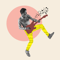 Fototapeta Contemporary art collage, modern design. Retro style. Stylish performer playing guitar on pastel color background obraz
