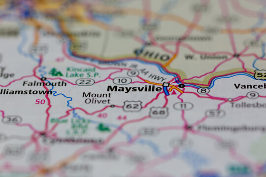 05-13-2021 Portsmouth, Hampshire, UK. Maysville Kentucky USA shown on a Geography map or road map
