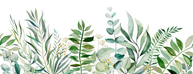 Fototapeta Watercolor botanical leaves seamless border illustration obraz