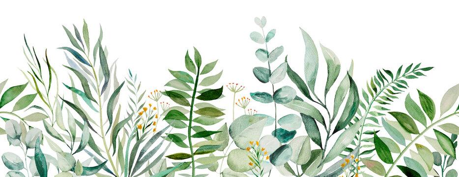 Watercolor botanical leaves seamless border illustration