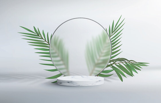 3d abstract background with marble pedestal. Round frosted glass frame with plumber's sheets. Minimalistic realistic image of an empty podium to showcase cosmetics products.