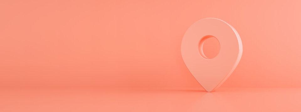 Location pin map 3 d render over pink background, navigation symbol, panoramic mock-up image