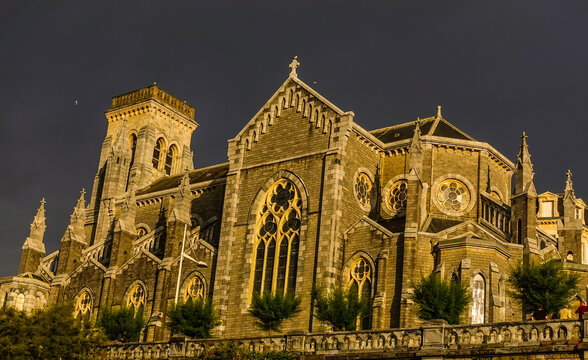 St. Eugenie Cathedral in Biarritz, France in the Gothic style