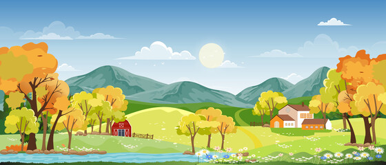Spring landscape in village with green meadow on hills with blue sky and clouds,Vector Summer or Spring background,PanoramaSunny day in countryside of green field with farmhouse,barn and grass flower