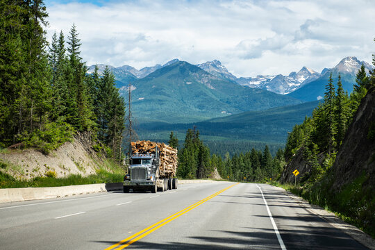 Timber truck on mountain highway in British Columbia