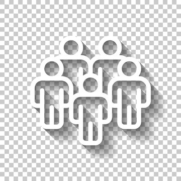 Partnership, teamwork, simple business logo. White linear icon with editable stroke and shadow on transparent background