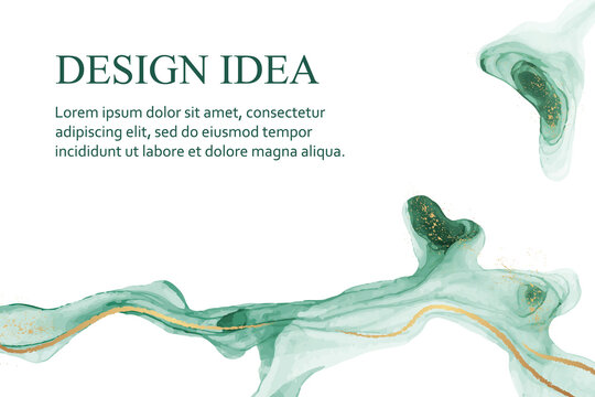Modern watercolor background or elegant card design for birthday invite or wedding or menu with abstract mint green ink waves and golden splashes on a white.