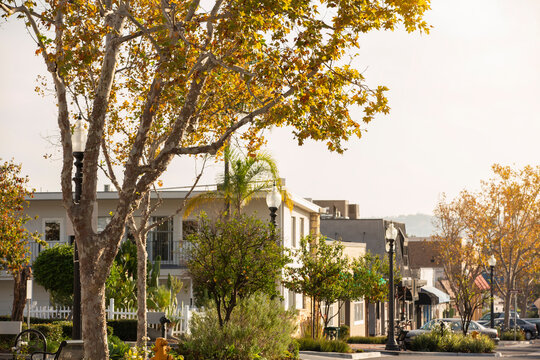 Afternoon view of the historic downtown district of Yorba Linda, California, USA.