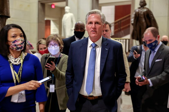 U.S. House Minority Leader Kevin McCarthy (R-CA) reacts as he arrives for a House Republican Caucus candidates forum to run for GOP conference chair, the third ranking leadership position, on Capitol Hill in Washington