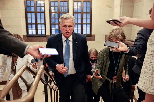 U.S. House Minority Leader Kevin McCarthy (R-CA) leaves a House Republican Caucus candidates forum for the running of GOP conference chair, the third ranking leadership position, on Capitol Hill in Washington