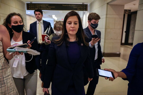 Members of the media approach U.S. Representative Elise Stefanik (R-NY) as she leaves a House Republican Caucus candidates forum for the running of GOP conference chair, the third ranking leadership position, on Capitol Hill in Washington