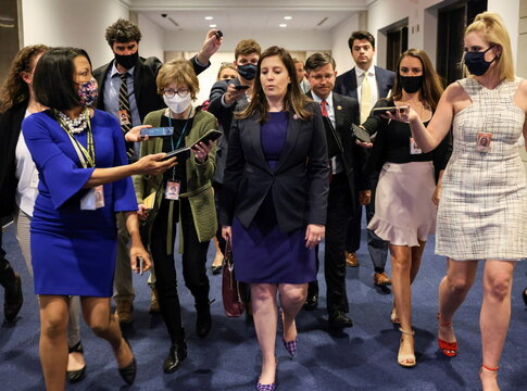 U.S. Representative Elise Stefanik (R-NY) speaks to members of the media as she leaves a House Republican Caucus candidates forum for the running of GOP conference chair, the third ranking leadership position, on Capitol Hill in Washington