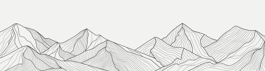 Fototapeta Black and white mountain line arts wallpaper, luxury landscape background design for cover, invitation background, packaging design, fabric, and print. Vector illustration. obraz
