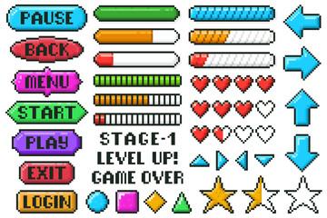 Fototapeta Pixel game menu buttons. Game 8 bit ui controller arrows, level and live bars, menu, stop, play buttons vector illustration set. Gaming menu buttons obraz