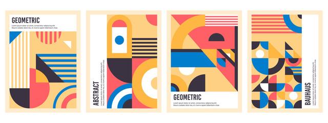 Fototapeta Bauhaus posters. Abstract geometric patterns, circles, triangles and square bauhaus banner vector illustration set. Graphic bauhaus design posters obraz