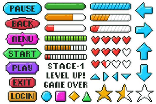 Pixel game menu buttons. Game 8 bit ui controller arrows, level and live bars, menu, stop, play buttons vector illustration set. Gaming menu buttons